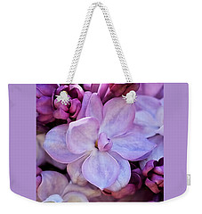 French Lilac Flower Weekender Tote Bag by Rona Black