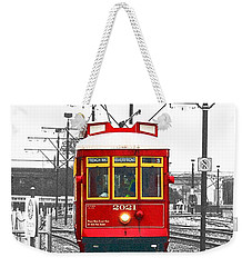 French Quarter French Market Cable Car New Orleans Color Splash Black And White With Film Grain Weekender Tote Bag