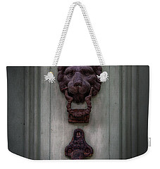 Weekender Tote Bag featuring the photograph French Quarter Lion by Chrystal Mimbs