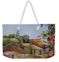 Weekender Tote Bag featuring the painting French Village by Chris Hobel