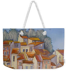 Weekender Tote Bag featuring the painting French Villlage Painting by Chris Hobel