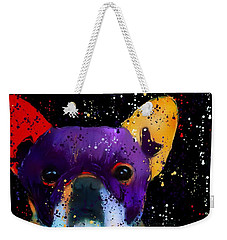 Weekender Tote Bag featuring the photograph Frenchie Splash N Pop by Barbara Chichester