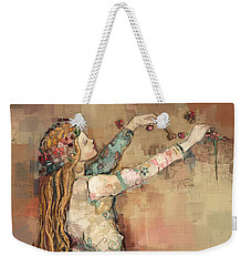 Weekender Tote Bag featuring the painting Freyja And Her Cats by Carrie Joy Byrnes