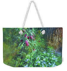 Weekender Tote Bag featuring the photograph Fritillaria And Forget-me-nots  by Connie Handscomb