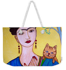 Weekender Tote Bag featuring the painting Frida And Her Cat by Pristine Cartera Turkus