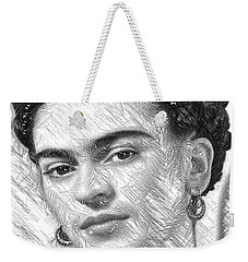 Weekender Tote Bag featuring the painting Frida Drawing In Black And White by Rafael Salazar