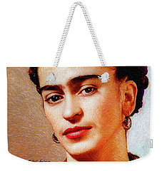 Weekender Tote Bag featuring the painting Frida In Red by Rafael Salazar