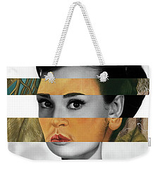 Frida Kahlo's Self Portrait With Monkey And Audrey Hepburn Weekender Tote Bag by Luigi Tarini