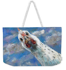 Weekender Tote Bag featuring the painting Fried What by Billie Colson