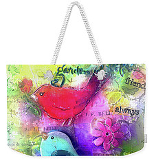 Weekender Tote Bag featuring the digital art Friends Always by Claire Bull