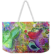 Weekender Tote Bag featuring the painting Friends Always Together by Claire Bull