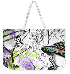Weekender Tote Bag featuring the painting Friends And Flowers by Cathie Richardson