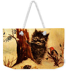 Weekender Tote Bag featuring the painting Friends Forever by Hazel Holland