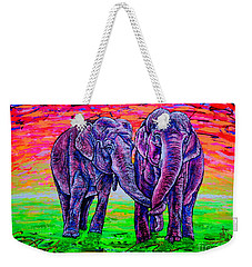 Weekender Tote Bag featuring the painting Friends by Viktor Lazarev