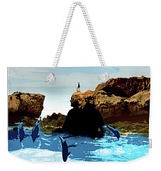 Friends With Dolphins In Colour Weekender Tote Bag