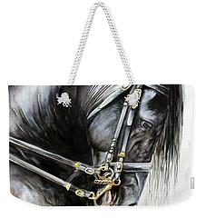 Weekender Tote Bag featuring the painting Friesian by Debbie Hart
