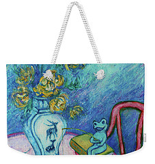 Weekender Tote Bag featuring the painting Frog Fishing Under Chrysanthemums by Xueling Zou