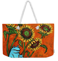 Frog I Padding Amongst Sunflowers Weekender Tote Bag by Xueling Zou
