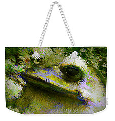 Weekender Tote Bag featuring the photograph Frog In The Pond by Lori Seaman