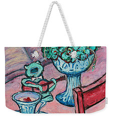 Weekender Tote Bag featuring the painting Frog Singing At Teatime by Xueling Zou