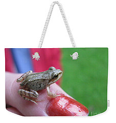 Weekender Tote Bag featuring the photograph Frog The Prince by Ausra Huntington nee Paulauskaite
