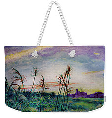 Weekender Tote Bag featuring the painting From A Distance 2 by Ron Richard Baviello