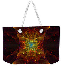 Weekender Tote Bag featuring the digital art From Chaos Arisen by Lea Wiggins