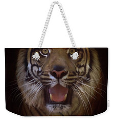Weekender Tote Bag featuring the photograph From The Darkness by Elaine Malott