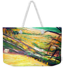 Weekender Tote Bag featuring the painting From The Lawn Pandanus by Winsome Gunning