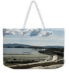 from the shore at Powell River Weekender Tote Bag