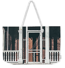 Weekender Tote Bag featuring the photograph Front Door Of Abandoned Building by Kim Hojnacki