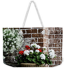 Weekender Tote Bag featuring the photograph Front Porch With Flower Pots by Kim Hojnacki