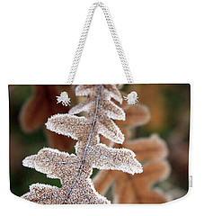 Frost Covered Oak Leaf Weekender Tote Bag