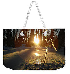 Frost On Sapling At Sunrise Weekender Tote Bag