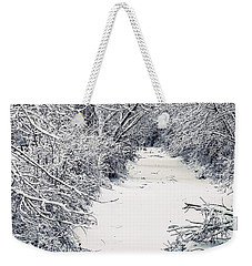 Weekender Tote Bag featuring the photograph Frosted Feeder by Kendall McKernon