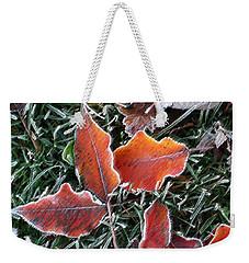 Frosted Leaves Weekender Tote Bag by Shari Jardina
