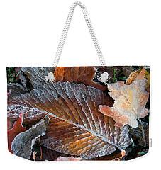 Frosted Painted Leaves Weekender Tote Bag by Shari Jardina