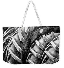Weekender Tote Bag featuring the photograph Frosted Tires by Brad Allen Fine Art