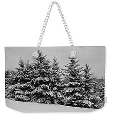 Weekender Tote Bag featuring the photograph Frosted Trees by Kathleen Sartoris