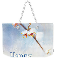Frosted Witch Hazel Blossoms Holiday Card Weekender Tote Bag