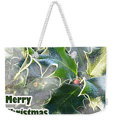 Weekender Tote Bag featuring the photograph Frosty Holly by LemonArt Photography
