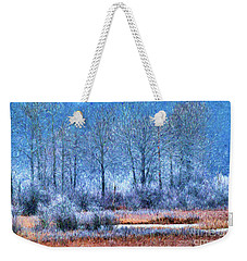 Weekender Tote Bag featuring the digital art Frosty Morning At The Marsh Photo Art by Sharon Talson