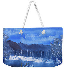 Frosty Mountain River Weekender Tote Bag