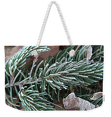 Frosty Pine Branch Weekender Tote Bag
