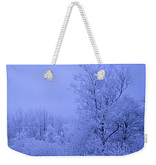 Frosty Trees At Night Weekender Tote Bag