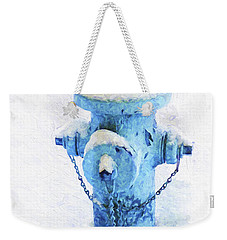 Weekender Tote Bag featuring the photograph Frozen Blue Fire Hydrant by Andee Design