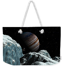 Weekender Tote Bag featuring the digital art Frozen Blue Gem by David Robinson