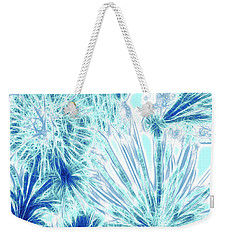 Weekender Tote Bag featuring the digital art Frozen Blue Ice by Methune Hively