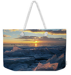 Frozen Sevan Lake And Icicles At Sunset, Armenia Weekender Tote Bag