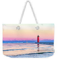 Weekender Tote Bag featuring the photograph Frozen Sunset by Steven Santamour